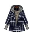 女性 カジュアル/普段着 / プラスサイズ 冬 チェック コート,シンプル ブルー コットン 長袖 厚手