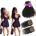 閉鎖が付いている毛横糸 マレーシアンヘア Kinky Curly 6ヶ月 4個 ヘア織り