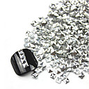 3D 300ks Silver Square Alloy Nail Art Zlaté a stříbrné ozdoby