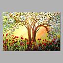 Ručně malované Květinový/Botanický motiv Horizontální,umělecké Jeden panel Plátno Hang-malované olejomalba For Home dekorace