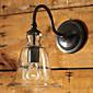 Retro zidna svjetiljka sa cvjetnim stakla hladu i metalni nosač