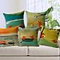 5カントリースタイル手描きのキツネパターンコットン/リネンのセット装飾的な枕カバー