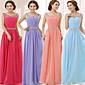 Formeller Abend Kleid - Purpurrot/Lavendel/Hellhimmelblau/Wassermelone Chiffon - A-Linie - bodenlang - U-Ausschnitt