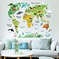 Cartoon Animals World Map Plane Wall Stickers , PVC 60*90 cm (23.6*35.4 inch)