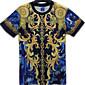 男性用 プリント カジュアル Tシャツ,半袖 ポリエステル,ブルー