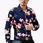 Cvjetni print Muška Majica Ležerne prilike / Posao / Plus veličine,Pamuk / Poliester Dugih rukava Plava