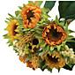 1 bouquet/Set 5 ブランチ シルク / プラスチック ヒマワリ テーブルトップフラワー 人工花 3.3 inch X 10 inch